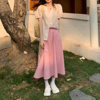 Fashion suit Summer 2021 Average size Pink skirt, blue skirt, pink dot shirt, blue dot shirt 18-25 years old