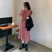 Dress Autumn 2020 Red, black Average size longuette singleton  Long sleeves commute Broken flowers 18-24 years old Korean version Frenulum 6429#