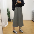 skirt Spring 2020 M, L Gray, black Mid length dress commute High waist A-line skirt Solid color Type A 51% (inclusive) - 70% (inclusive) Other / other cotton Pocket, strap Korean version