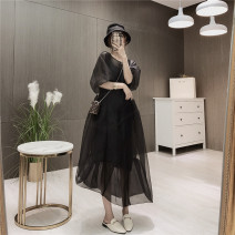 Dress Spring 2021 black S,M,L Mid length dress Two piece set Short sleeve commute Crew neck High waist Solid color Socket A-line skirt puff sleeve Others 25-29 years old Type A 81% (inclusive) - 90% (inclusive) organza  other