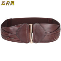 Belt / belt / chain top layer leather Camel, coffee, black, red female Waistband Versatile Single loop Youth, middle age, old age Geometric pattern soft surface 8cm alloy Tightness May wind C52P89
