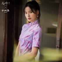 cheongsam Autumn 2020 S,M,L violet three quarter sleeve Short cheongsam ethnic style Low slit daily Round lapel Animal design 18-25 years old