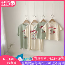 Parent child fashion Off white reservation, green reservation Mother and son Neutral, male, female Other / other S(90cm),M(100cm) Short sleeve summer leisure time Thin money Solid color cotton Class A 12 months, 3 months, 18 months, 9 months, 6 months, 2 years old Chinese Mainland