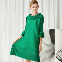 Dress Spring 2021 Black, red, khaki, yellow, green, blue Average size Middle-skirt singleton  three quarter sleeve commute Pile collar Loose waist Solid color Socket A-line skirt Others pleats please  Korean version fold