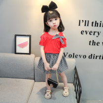 suit Other / other 80cm,90cm,100cm,110cm female summer princess Short sleeve + skirt 2 pieces Thin money No model Zipper shirt nothing Solid color other children Expression of love other Other 100% 3 months, 6 months, 12 months, 9 months, 18 months, 2 years old, 3 years old, 4 years old, 5 years old