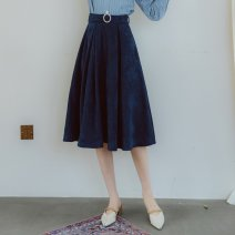 skirt Spring 2021 S,M,L dark blue commute High waist A-line skirt Solid color Type H 25-29 years old Yac1019-y skirt with belt and Pearl buckle Annie Chen Retro