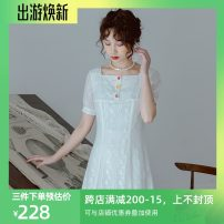 Dress Summer 2021 Off white, off white pre-sale S,M,L Middle-skirt singleton  Short sleeve commute Slant collar High waist Solid color Socket Big swing routine Others 25-29 years old Type X Annie Chen Retro YFX1121