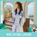 Dress Spring 2021 Sky blue, sky blue pre-sale S,M,L Middle-skirt singleton  Long sleeves commute V-neck High waist Decor double-breasted other shirt sleeve Others 25-29 years old Type X Annie Chen Retro Contrast collar side waist tie dress yfc1126 More than 95% other polyester fiber
