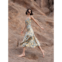 Dress Summer 2020 Blue flower XS,S,M,L Mid length dress singleton  Sleeveless commute V-neck middle-waisted Decor Socket other other camisole 25-29 years old Type A RoseLingLing Simplicity 81% (inclusive) - 90% (inclusive) silk