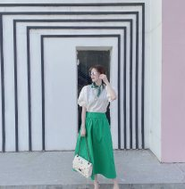 skirt Summer 2021 Average size Green, white longuette commute High waist Pleated skirt Solid color Type A 25-29 years old YS03 Chiffon polyester fiber fold