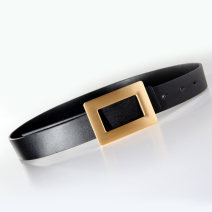 Belt / belt / chain top layer leather White, black, pink female belt Simplicity Single loop Youth, middle age Smooth button Geometric pattern soft surface 2.7cm alloy 90cm,95cm,100cm