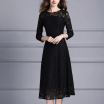 Dress Spring 2020 black M,L,XL,2XL,3XL,4XL Mid length dress singleton  three quarter sleeve commute Crew neck middle-waisted Solid color zipper Big swing routine Others 30-34 years old Type A Ink and wash Ol style Zipper, lace X352 71% (inclusive) - 80% (inclusive) Lace cotton