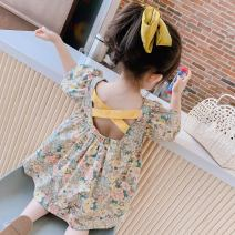 Dress Decor female Other / other 90cm,100cm,110cm,120cm,130cm Cotton 90% other 10% summer college Long sleeves other Cotton blended fabric other X2192 other 12 months, 6 months, 9 months, 18 months, 2 years old, 3 years old, 4 years old, 5 years old, 6 years old, 7 years old, 8 years old