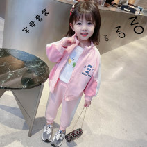 suit Other / other Pink, blue 90cm,100cm,110cm,120cm,130cm female spring and autumn Korean version Long sleeve + pants other Cotton blended fabric Other 100% Six months, 12 months, 9 months, 18 months, 2 years old, 3 years old, 4 years old, 5 years old, 6 years old, 7 years old, 8 years old