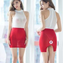 Dress Fall 2017 Average size Miniskirt Sleeveless Crew neck High waist Solid color 25-29 years old Other / other nylon