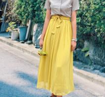 skirt Summer 2020 S,M,L yellow longuette Versatile High waist A-line skirt Solid color Type A A More than 95% Chiffon polyester fiber
