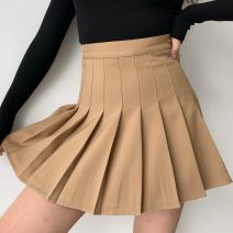 skirt Autumn 2020 S,M,L,XL khaki Short skirt street High waist Pleated skirt Solid color Type A 18-24 years old QZ00070 More than 95% polyester fiber fold Europe and America