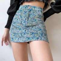 skirt Autumn 2020 S,M,L Broken flowers with blue background Short skirt street High waist A-line skirt Decor Type A 18-24 years old 71% (inclusive) - 80% (inclusive) acrylic fibres printing