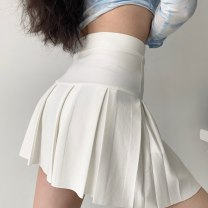 skirt Spring 2021 S,M,L White, black Short skirt street High waist Pleated skirt Solid color Type A 18-24 years old QZ00073 polyester fiber fold Europe and America