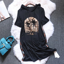 Dress Summer 2020 black L,XL,2XL,3XL,4XL Mid length dress singleton  Short sleeve street Hood Loose waist Solid color Socket routine Others T-type printing 81% (inclusive) - 90% (inclusive) cotton Europe and America