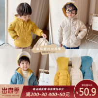 Cotton padded jacket male No detachable cap other Qiqi Miaomiao Blue, yellow, black, beige, dark pink 90cm,100cm,110cm,120cm,130cm,140cm thickening Zipper shirt Simplicity There are models in the real shooting Solid color Cotton polyester other Polyester 100% A04MA014