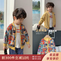 Plain coat Qiqi Miaomiao male 90cm,100cm,110cm,120cm,130cm,140cm Yellow, Navy spring and autumn leisure time Zipper shirt There are models in the real shooting routine nothing Cartoon animation cotton V-neck A111WT023 Polyester 100% other