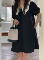 Dress Spring 2021 Black, apricot Average size Short skirt singleton  Short sleeve commute V-neck Solid color other A-line skirt puff sleeve 18-24 years old Type A Korean version Self cultivation 31% (inclusive) - 50% (inclusive) other cotton