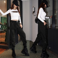 Casual pants Gray, black S,M,L,XL Autumn 2020 trousers Overalls Natural waist street routine 18-24 years old 96% and above K2005 Yan Rong cotton pocket cotton neutral