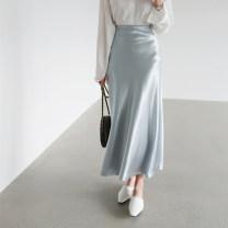 skirt Summer 2020 S,M,L,XL Black, silver blue, dark blue, pink longuette grace High waist Ruffle Skirt Solid color Type A 25-29 years old LCX2019-H026 81% (inclusive) - 90% (inclusive) Li Chunxi polyester fiber Ruffles, zippers