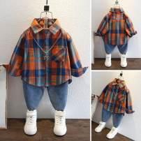 shirt Orange, blue Other / other neutral 90cm,100cm,110cm,120cm,130cm,140cm Long sleeves lattice Pure cotton (100% cotton content)