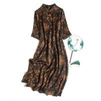 Dress Spring 2021 Saffron with saffron XL,2XL,3XL Mid length dress singleton  elbow sleeve commute Doll Collar Loose waist Decor Socket routine Type H Pu Xu Retro A4701 More than 95% silk