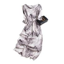 Dress Summer 2020 Light grey smoke line 160/84B(M),165/88B(L),170/92B(XL) Mid length dress singleton  elbow sleeve commute Dangling collar Loose waist Socket routine Type H Pu Xu Retro A1169 More than 95% silk