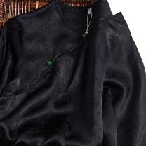 Dress Spring 2021 Jacquard satin with black background 160/84B(M),165/88B(L),170/92B(XL) Mid length dress singleton  Long sleeves commute Crew neck Loose waist Solid color Socket routine Type H Pu Xu Retro A0101 More than 95% silk