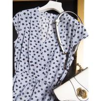 Dress Spring 2021 Foggy blue black onion M,L,XL,2XL Mid length dress singleton  Short sleeve commute V-neck Loose waist Socket Type H Pu Xu Retro A4491 More than 95% silk