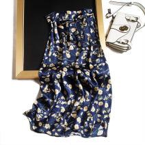 skirt Spring 2021 Tibetan Daisy Mid length dress commute Natural waist Type A F0149 More than 95% Pu Xu silk Strap, button Retro