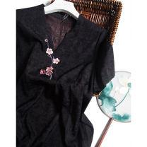 Dress Spring 2021 Black plum embroidered collar skirt, rose red plum embroidered collar skirt, orange yellow plum embroidered collar skirt L,XL,2XL,3XL,4XL Mid length dress singleton  Short sleeve commute V-neck Loose waist Socket other Type H Pu Xu Retro QQ144 More than 95% silk