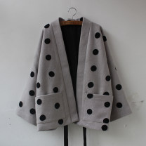 woolen coat Winter of 2019 Average size Light grey wool 31% (inclusive) - 50% (inclusive) routine Long sleeves Sweet Frenulum Dot Yuan Luoluo Solid color polyester fiber solar system