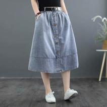 skirt Summer 2021 S,M,L,XL,2XL Dark, light Mid length dress Versatile Natural waist A-line skirt Solid color Type O 18-24 years old 71% (inclusive) - 80% (inclusive) Denim cotton
