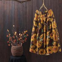 skirt Summer 2020 Average size Sunflower with black background, sunflower with coffee background Mid length dress A-line skirt Decor