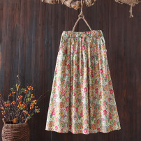 skirt Spring 2021 Average size Yellow green flowers, blue pink flowers longuette commute Natural waist A-line skirt Decor Type A 25-29 years old More than 95% cotton printing