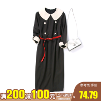 Dress Spring 2021 Black, peacock blue, black without belt, peacock blue without belt, Lange with belt, Lange without belt XS,S,M,L,XL,2XL Mid length dress singleton  three quarter sleeve commute High waist other Socket other routine Others 25-29 years old Type O 91% (inclusive) - 95% (inclusive)