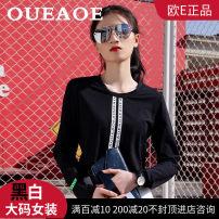 T-shirt black M, L cotton 96% and above European e oe-10085