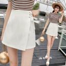 skirt Summer 2020 S,M,L,XL,2XL White, black Short skirt Versatile High waist Irregular Solid color Type A other Bandage