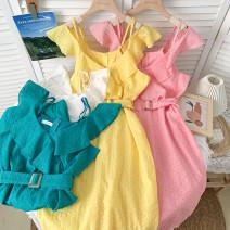 Dress Summer 2021 White, yellow, pink, green Average size Short skirt singleton  Sleeveless High waist Ruffle Skirt Lotus leaf sleeve 31% (inclusive) - 50% (inclusive) cotton