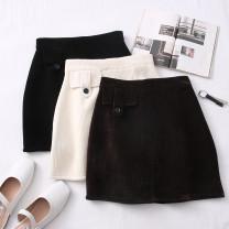 skirt Autumn 2020 S,M,L,XL Black, brown, apricot Short skirt High waist Type A 30% and below