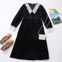 Dress Autumn 2020 black S,M,L Mid length dress singleton  V-neck High waist Solid color other routine 31% (inclusive) - 50% (inclusive)