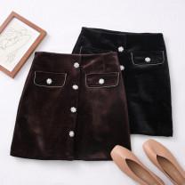 skirt Winter 2020 S,M,L,XL Black, dark brown Short skirt High waist A-line skirt Solid color Type A 30% and below