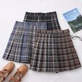 skirt Autumn 2020 S,M,L,XL Light blue, dark blue, brown Short skirt High waist Pleated skirt lattice 30% and below