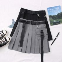 skirt Summer 2020 S,M,L,XL Gray, black Short skirt Versatile High waist Solid color 30% and below