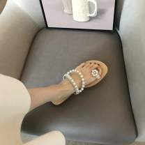 Sandals 35,36,37,38,39 -007 apricot, - 009 apricot, - 008 apricot PU Other / other Pinch toe Flat bottom Flat heel (1cm or less) Summer 2020 Flat buckle princess Solid color Adhesive shoes Youth (18-40 years old) Composite bottom daily Rear trip strap Low Gang Hollow PU PU Flat buckle Shaving 0.58kg